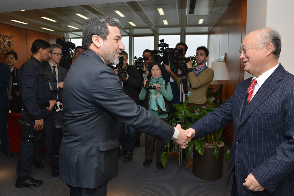 IAEA Director General Yukiya Amano (right) meets with the Deputy for Legal and International Affairs of the Ministry of Foreign Affairs of Iran, Seyyed Abbas Araghchi, at IAEA Headquarters in Vienna, Austria, on 24 February 2015. Photo: IAEA/Dean Calma